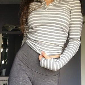aerie Tops - Aerie Grey and White Striped Half Zip Long Sleeve